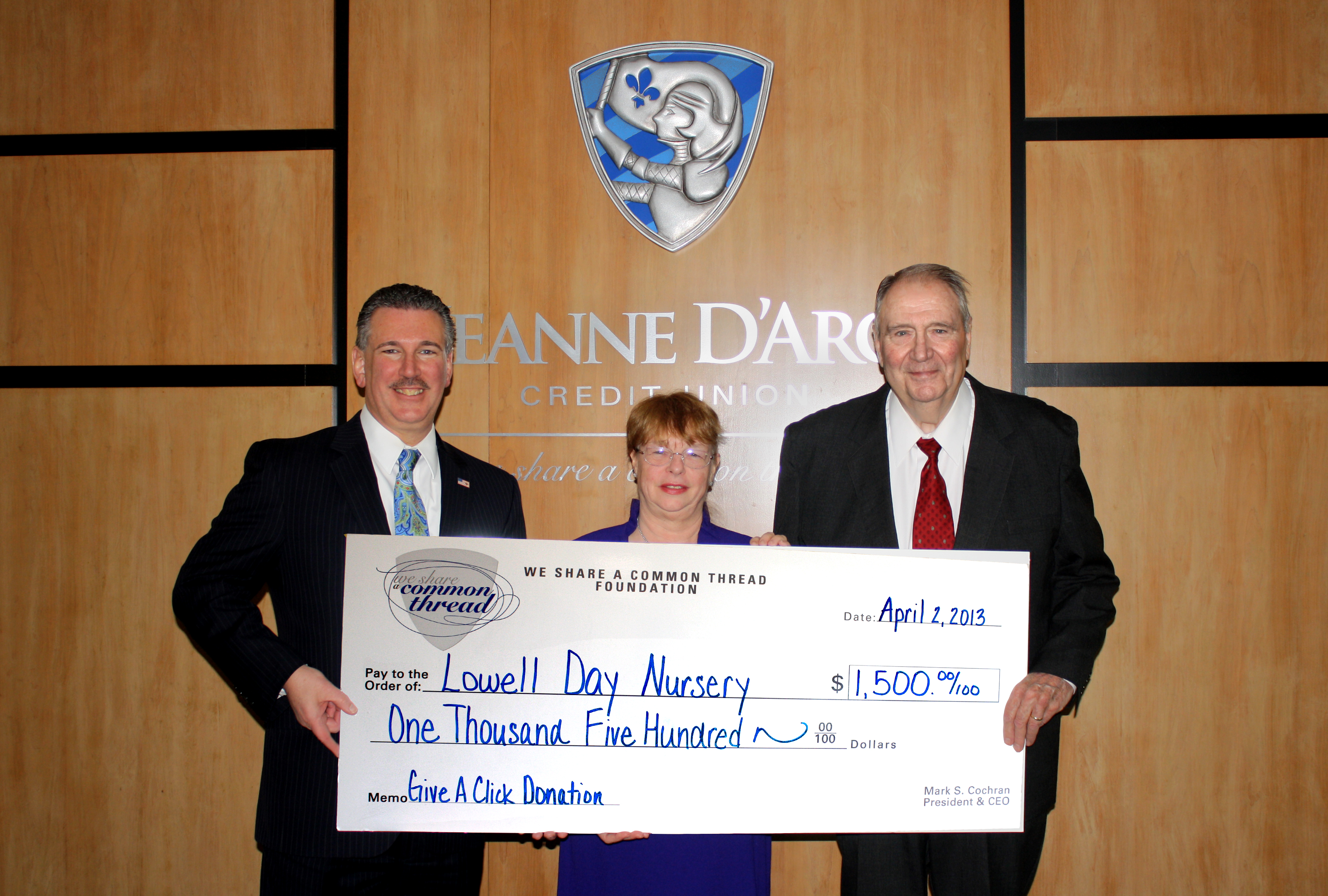 Lowell Day Nursery Receives 1 500 From Jeanne D Arc Credit Union
