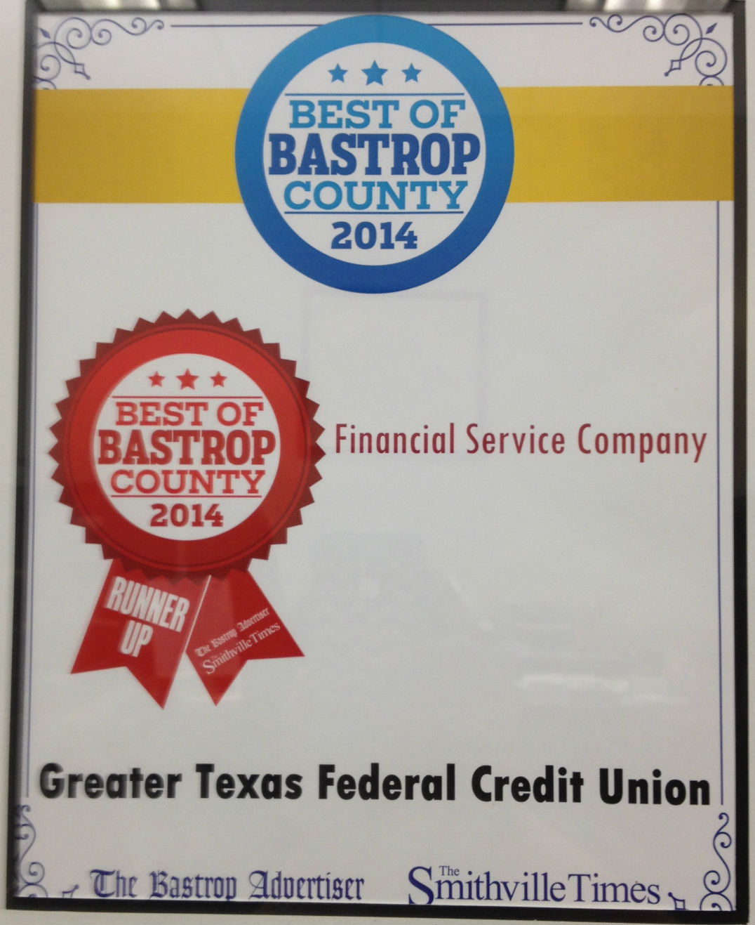 Greater TEXAS Federal Credit Union voted Runner Up as BEST