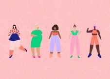 Women on pink background